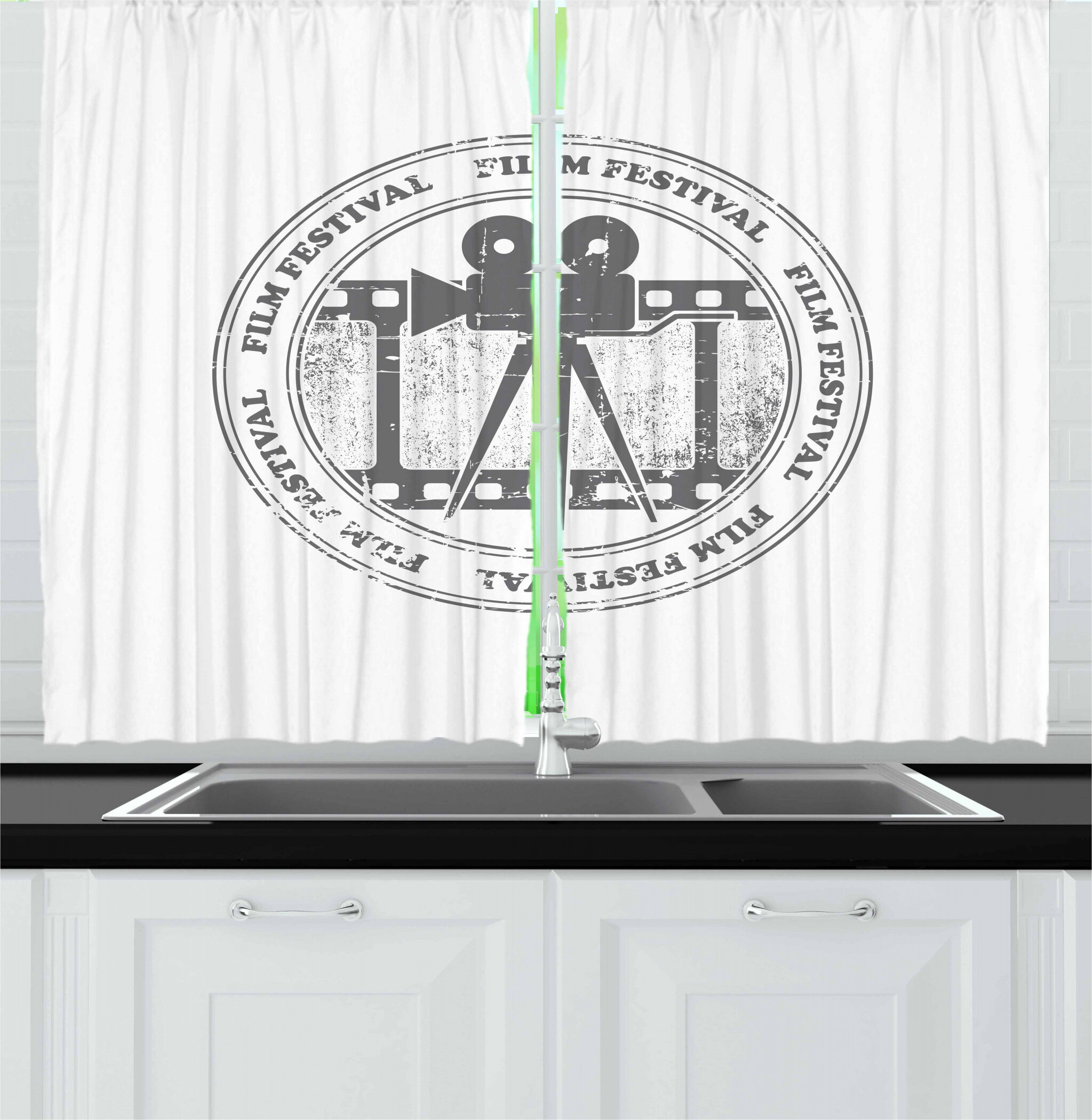 East Urban Home Movie Theater 2 Piece Kitchen Curtain Set