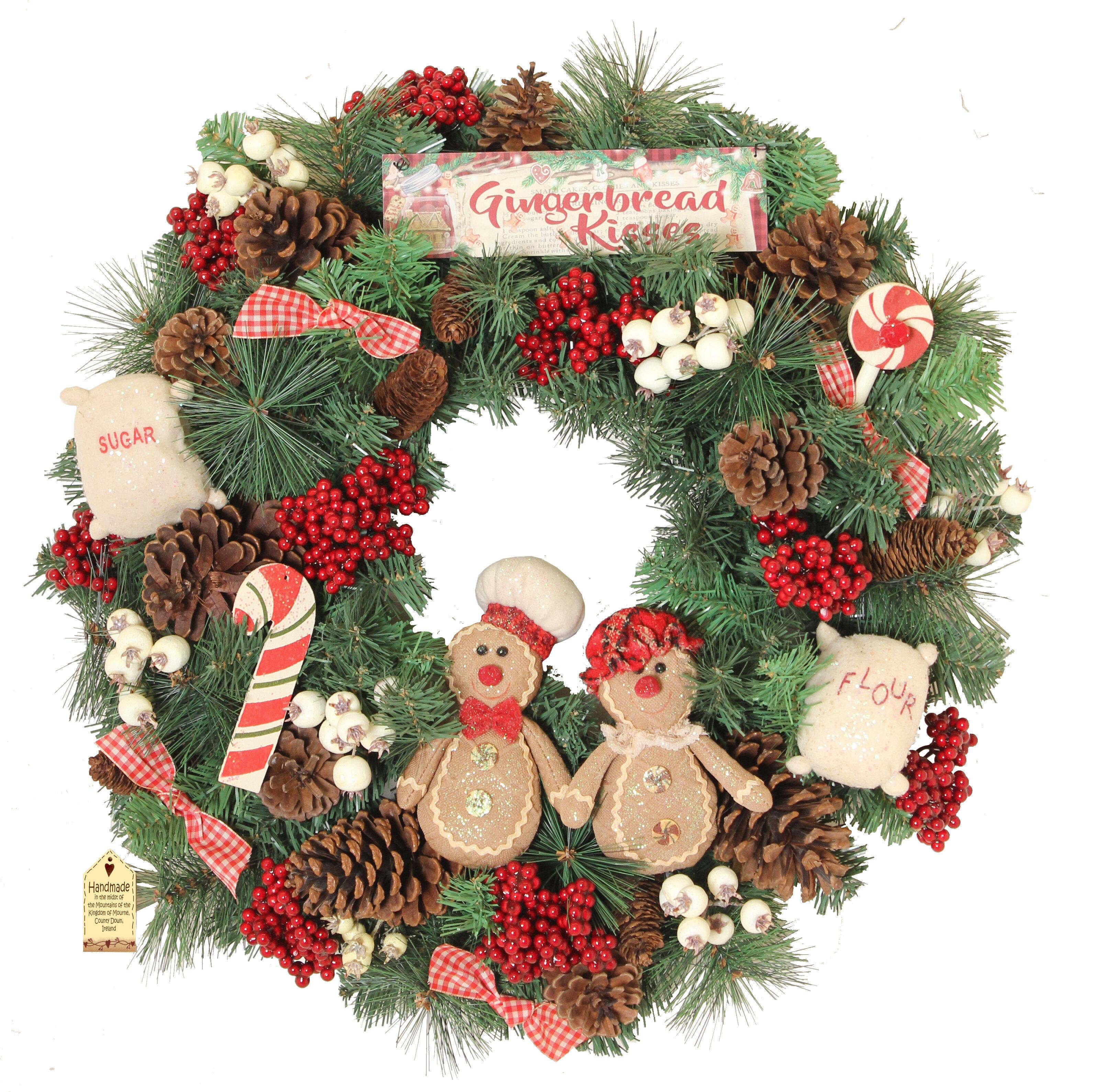 Christmas Wreath.Gingerbread Kisses 60cm Christmas Wreath