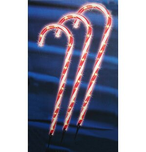 lighted outdoor shimmering candy cane lawn christmas decoration garden stake set of 3