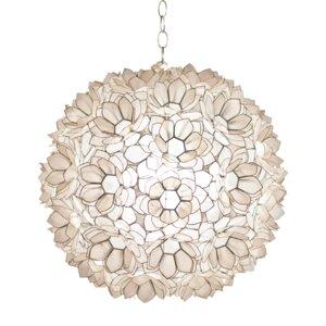 Capiz Shell Lotus 1-Light Globe Pendant