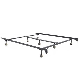 Piazza Universal Heavy Duty Adjustable Metal Bed Frame with Double Rail Center Bar and 7-Locking Rug Rollers