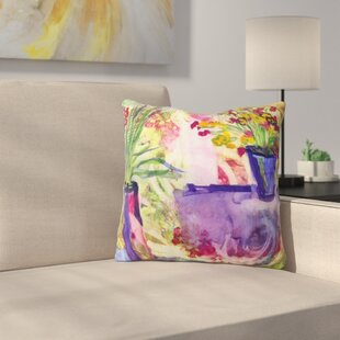 Purple And Lime by Laura Trevey Indoor/Outdoor Throw Pillow