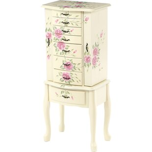 August Grove Antonette Floral Jewelry Armoire with Mirror