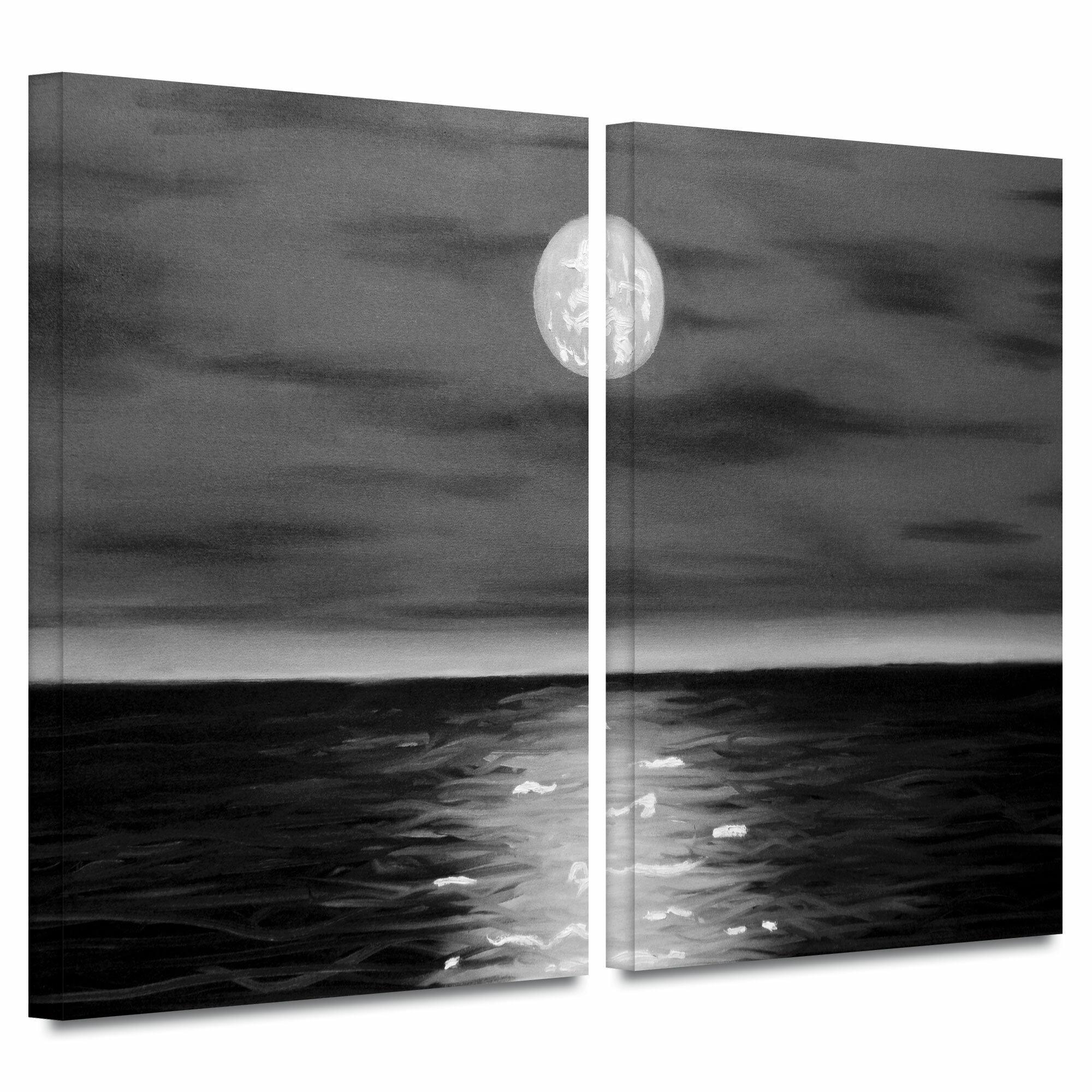 Artwall Moon Rising By Jim Morana 2 Piece Painting Print On Wrapped Canvas Set Wayfair