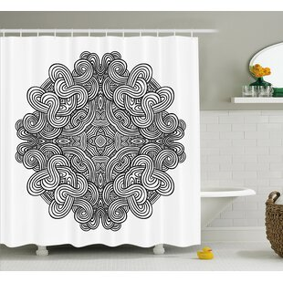 Kearns Circular Ancient Celtic With Twisted Spirals and Lines Classic Cultural Print Single Shower Curtain