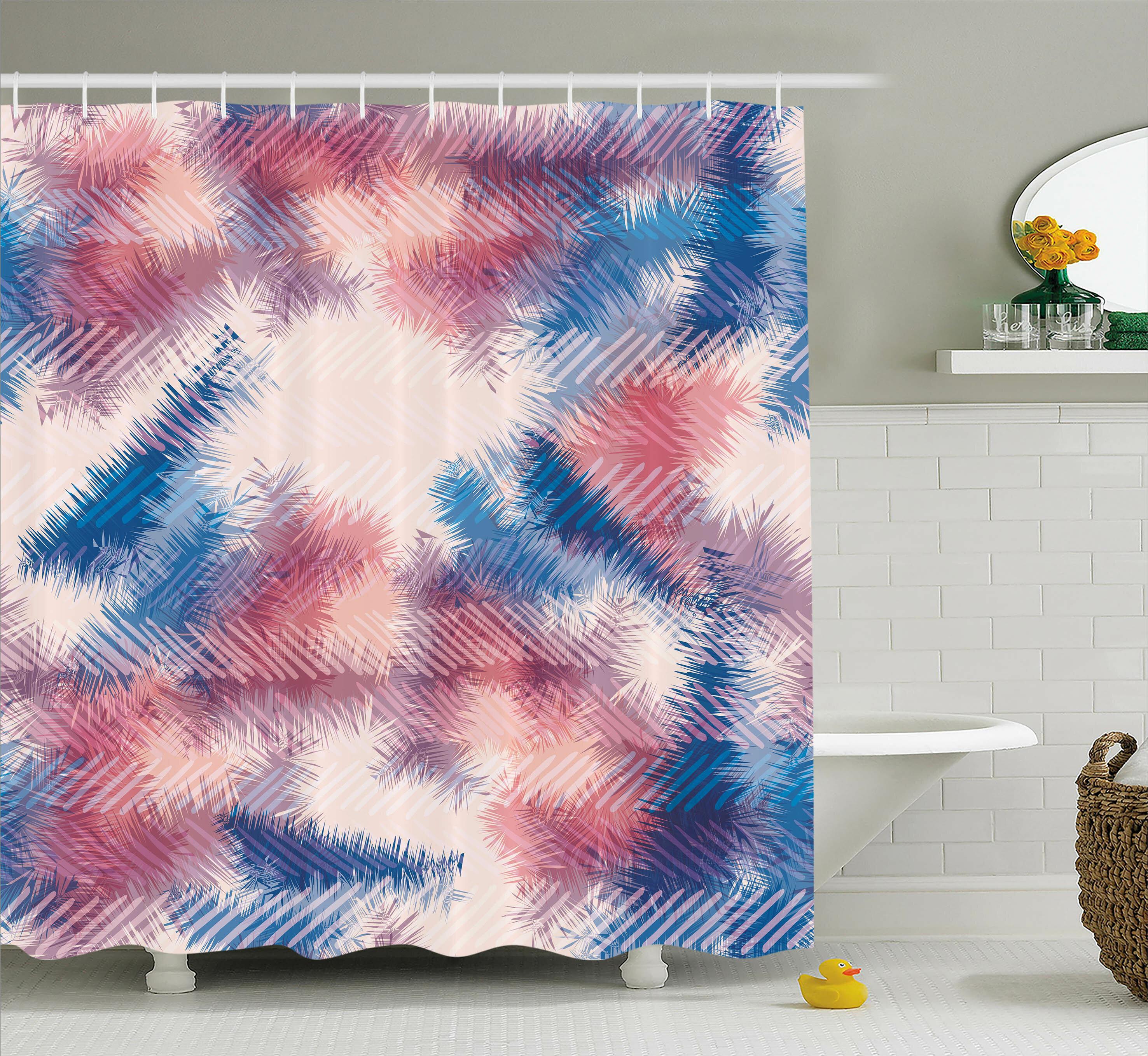 Ebern Designs Alisa Boho Digital Tie Dye Effect Graphic With Soft Feather Patterns Tribal Art Print Shower Curtain