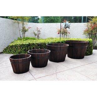 Shine Company Inc. 4-Piece Cedar Barrel Planter Set