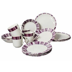 Royal Classic Stripes 16 Piece Dinnerware Set, Service for 4