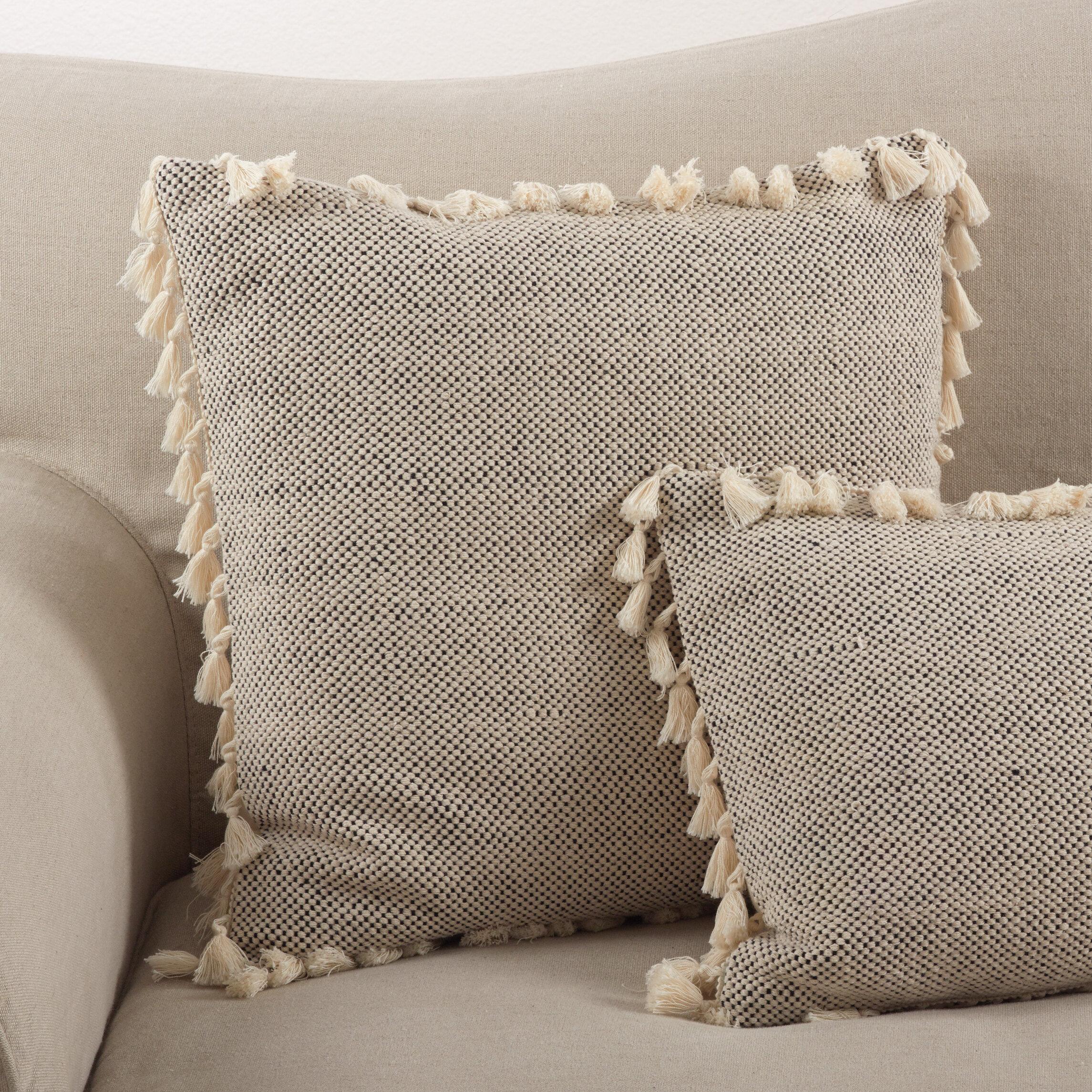 Mistana Hartwell Boho Tassel Cotton Down Throw Pillow Reviews Wayfair