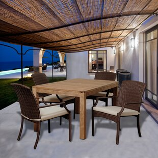 Beachcrest Home Garris 5 Piece Teak Dining Set With Cushions