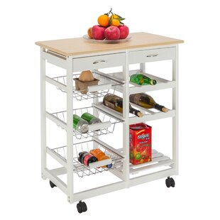 FCH Moveable Wine Racks and Three Baskets Kitchen Cart by Prep amp Savour