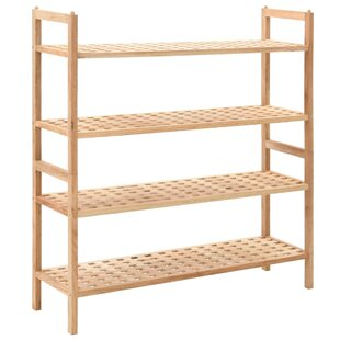 Solid Walnut Wood 20 Pair Shoe Rack By August Grove