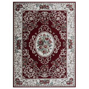 Online Reviews Knecht Hand-Tufted Wool Red/White Area Rug By Alcott Hill