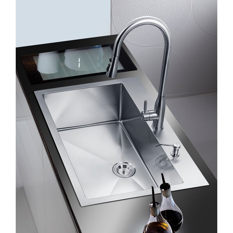 "DCOR Design 33"" X 22"" Single Drop-In Kitchen Sink"