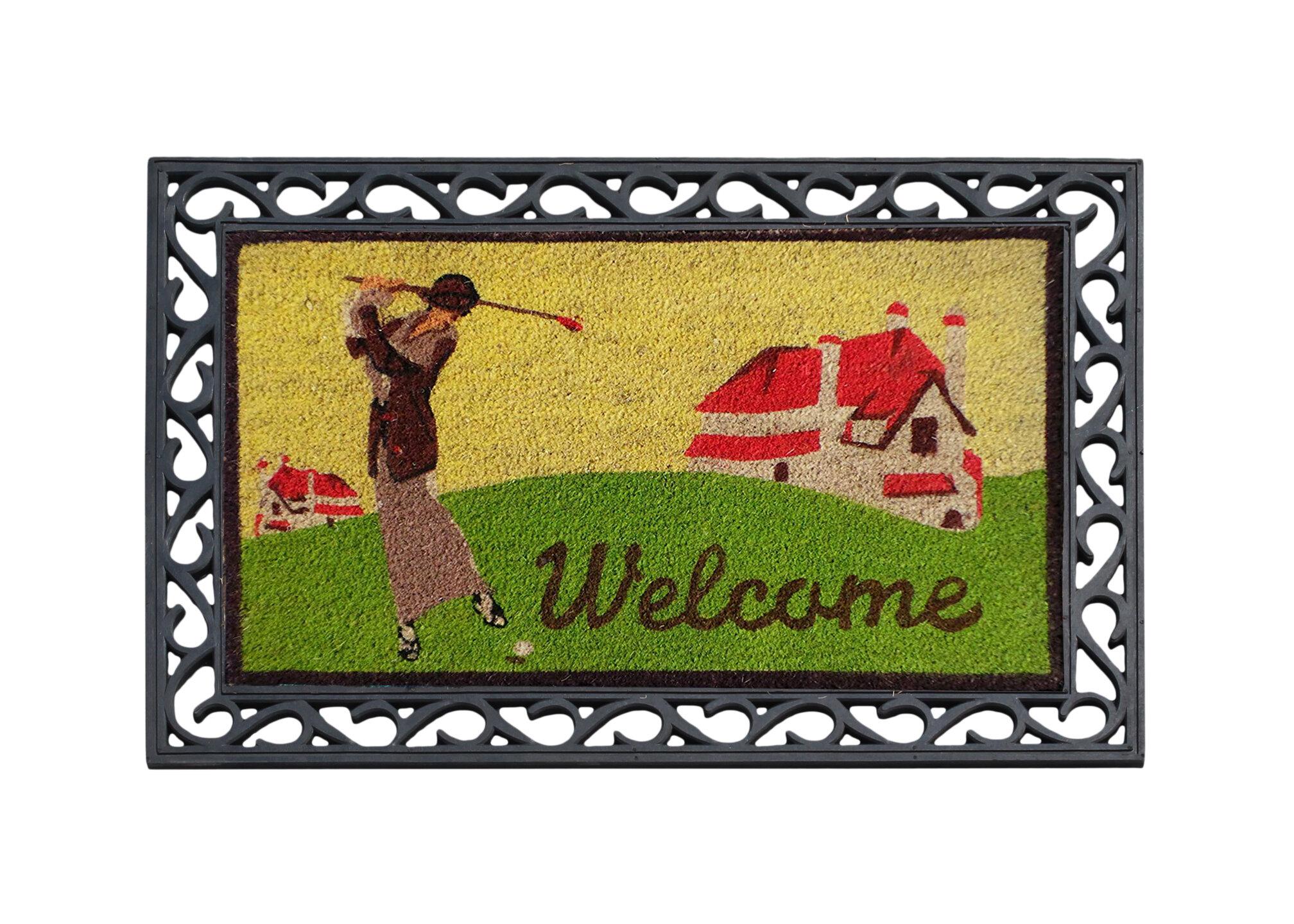 A1 Home Collections Llc Golf Welcome 36 In X 24 In Outdoor Door Mat Wayfair