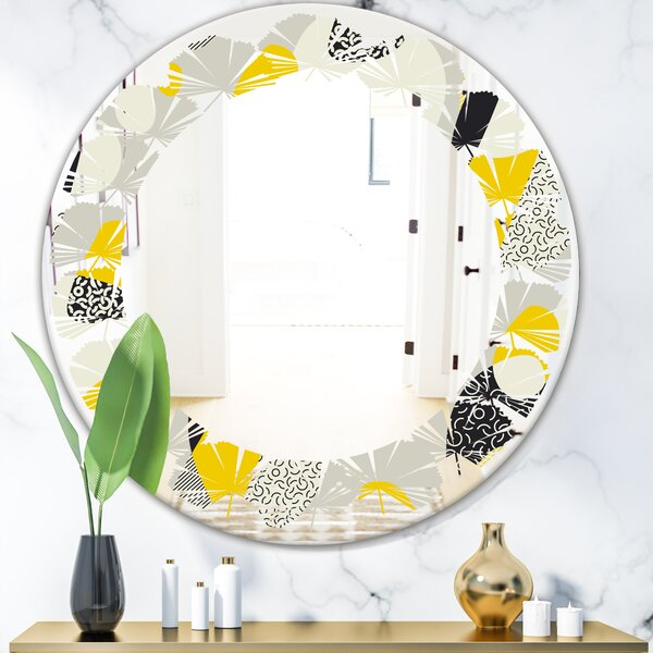 East Urban Home Leaves Abstract Design Pattern V Modern Frameless Wall Mirror