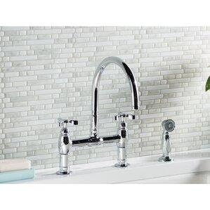 Kohler Parq Double Handle Deck-Mount Kitchen Faucet with Spray