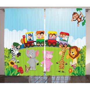 Jaiden Cartoon Graphic Print & Text Semi-Sheer Rod Pocket Curtain Panels (Set of 2) by Zoomie Kids