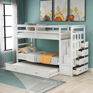 Chaela Twin over Twin Bunk Bed with Trundle and 4 Drawers