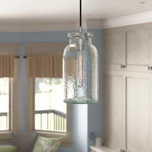Iola Brushed Nickel Nob Hill Single 1-Light Jar Pendant by Laurel Foundry Modern Farmhouse