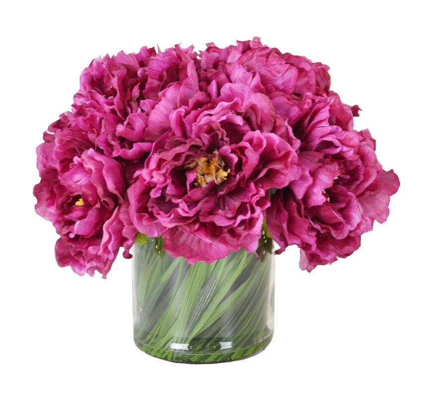 Magenta Peony Bouquet in Acrylic Glass Vase