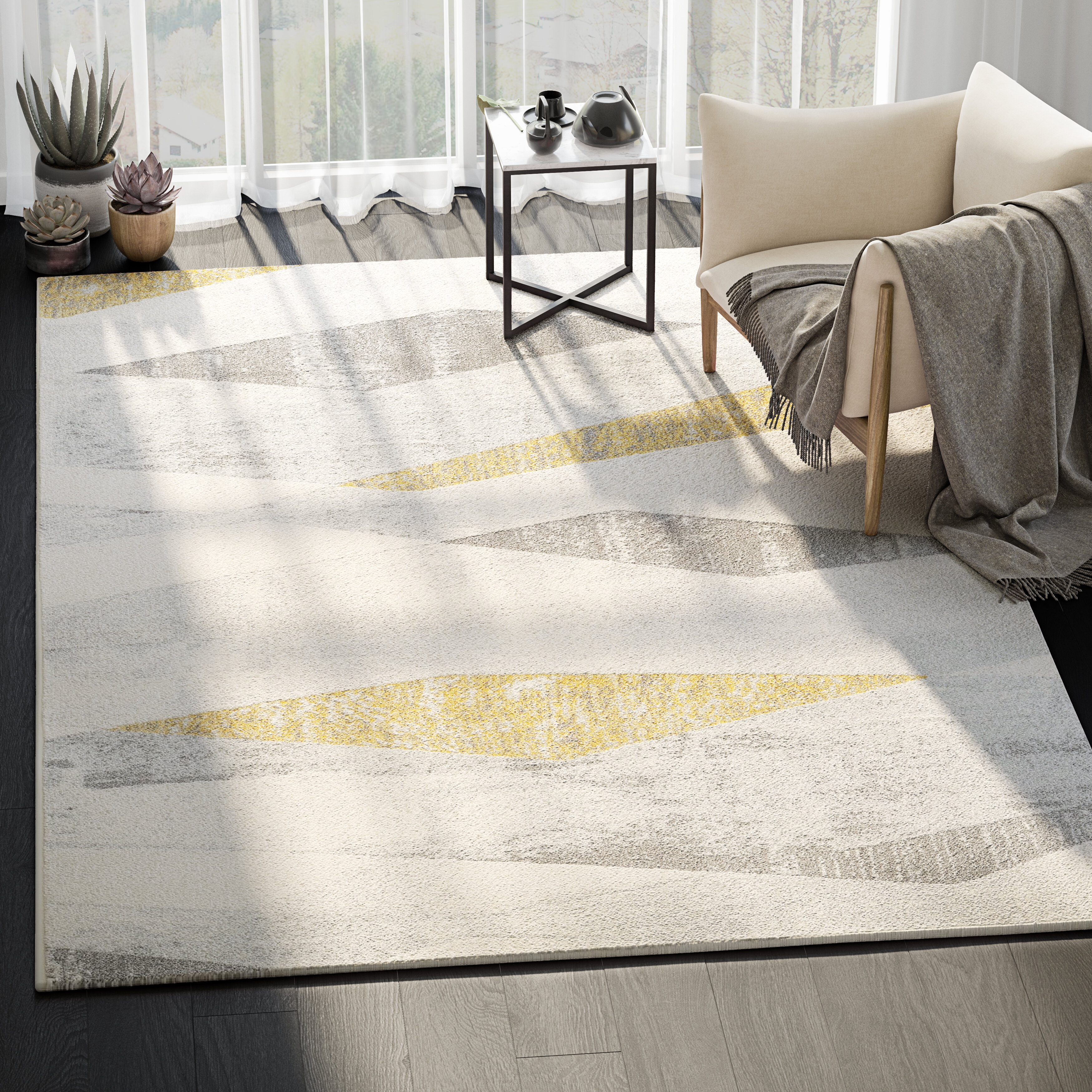 George Oliver Braziel Power Loom Gray Beige Yellow Rug Reviews Wayfair