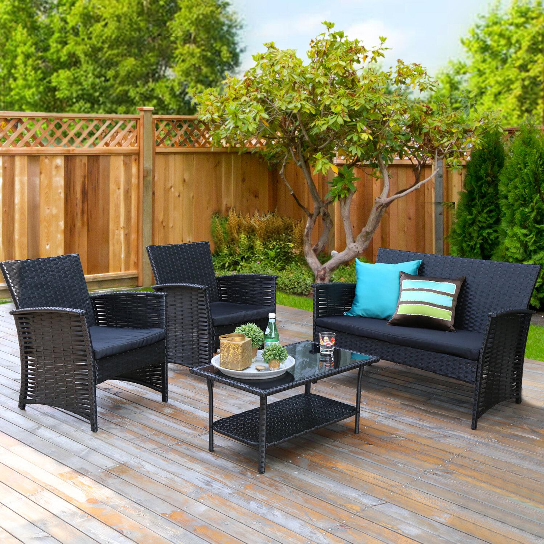 Latitude Run Adelbrand 4 Piece Rattan Sofa Seating Group With Cushions Wayfair