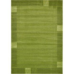 Christi Green Color Bordered Area Rug by Orren Ellis