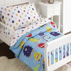 monsters 4 piece toddler bedding set