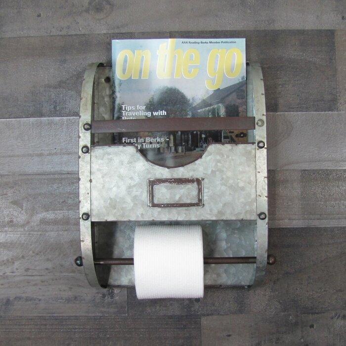 Bath Towel Bar Bathroom Organizer Wall Mount Toilet Paper Holder