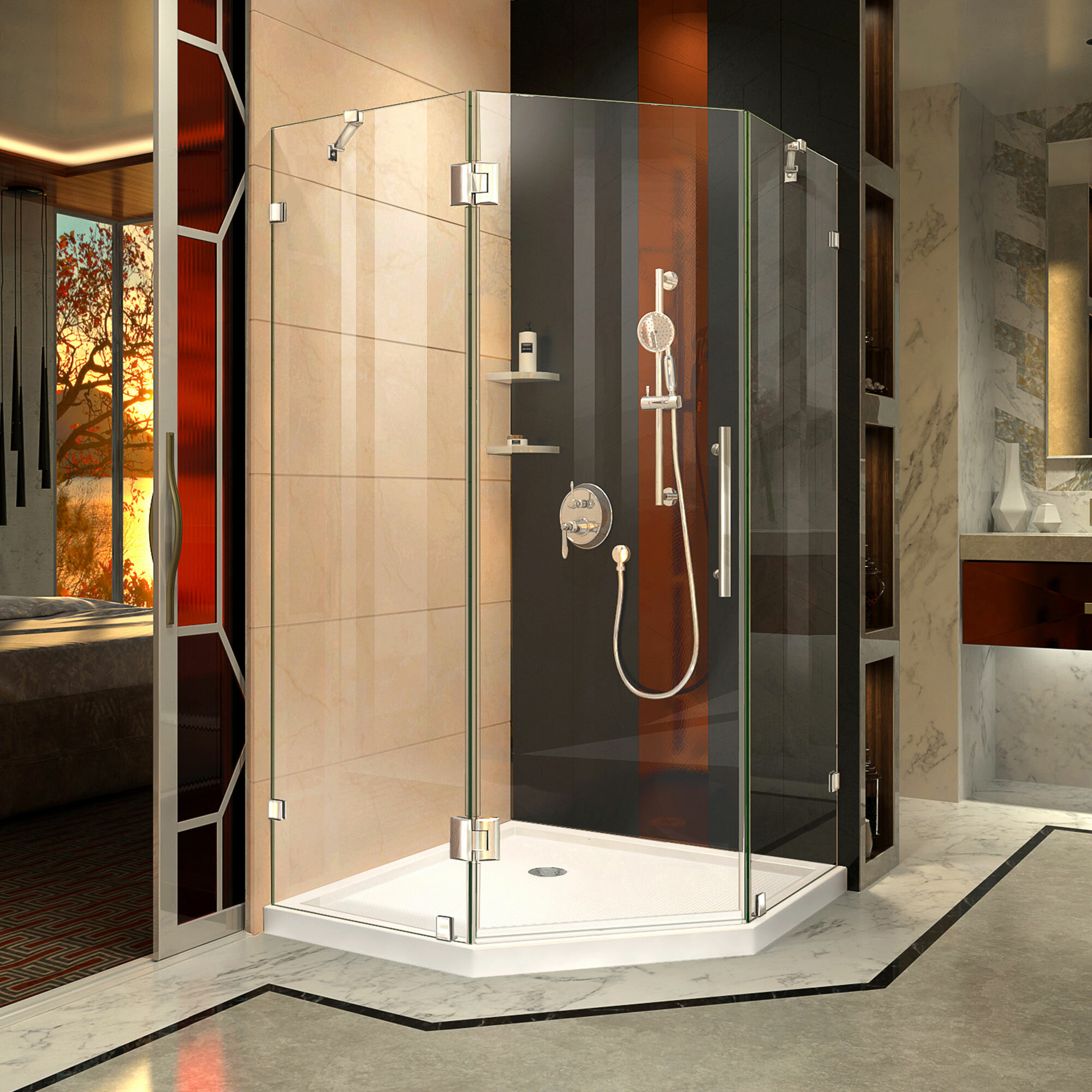 Dreamline Prism Lux 34 31 X 72 Neo Angle Hinged Shower Enclosure