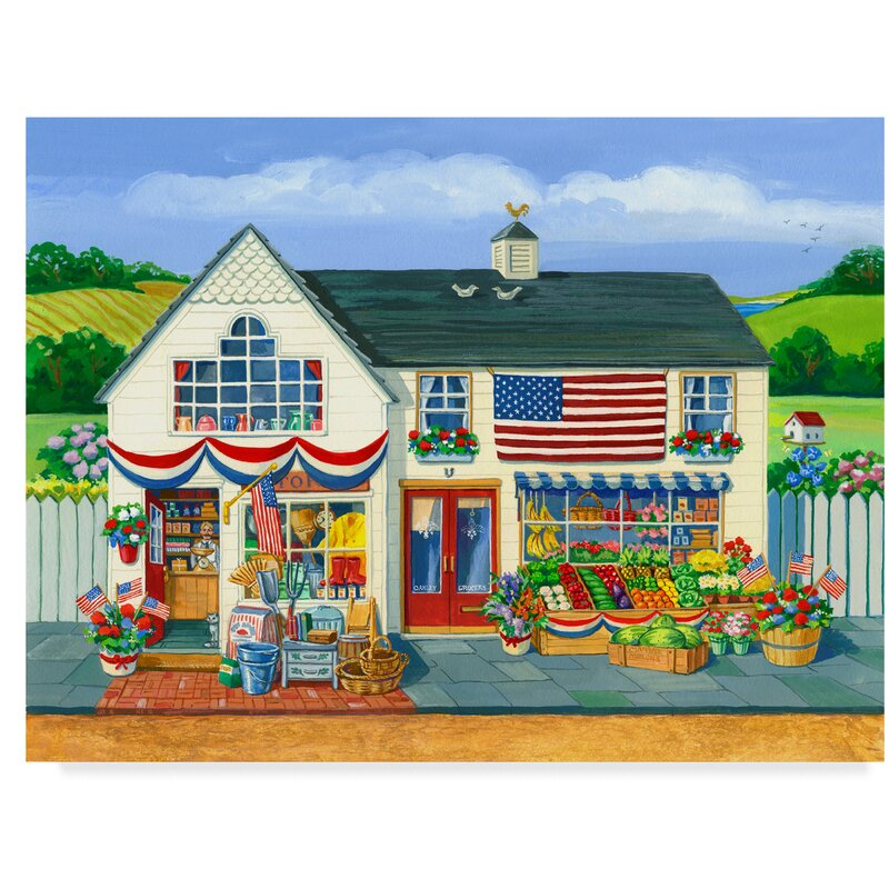 '4Th Of July Market' Print on Wrapped Canvas