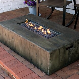 Foundry Select Arndt Rustic Faux Wood Outdoor Concrete Propane Gas Fire Pit Table