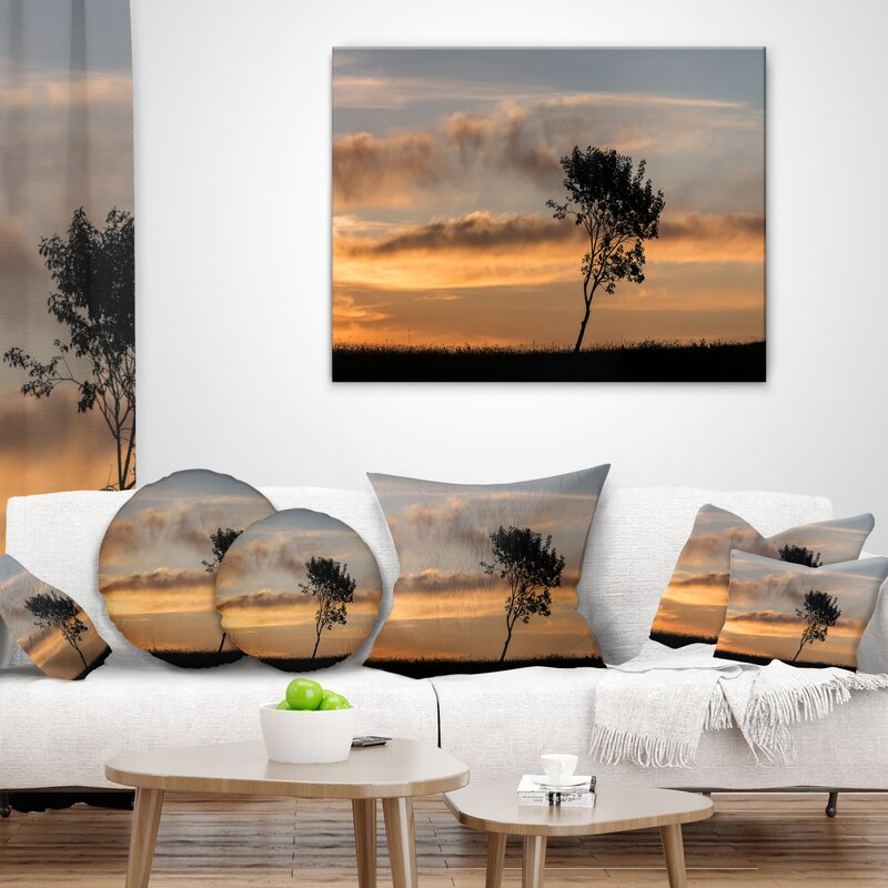 East Urban Home Lonely Tree Silhouette Rightwards Landscape Printed Lumbar Pillow Wayfair