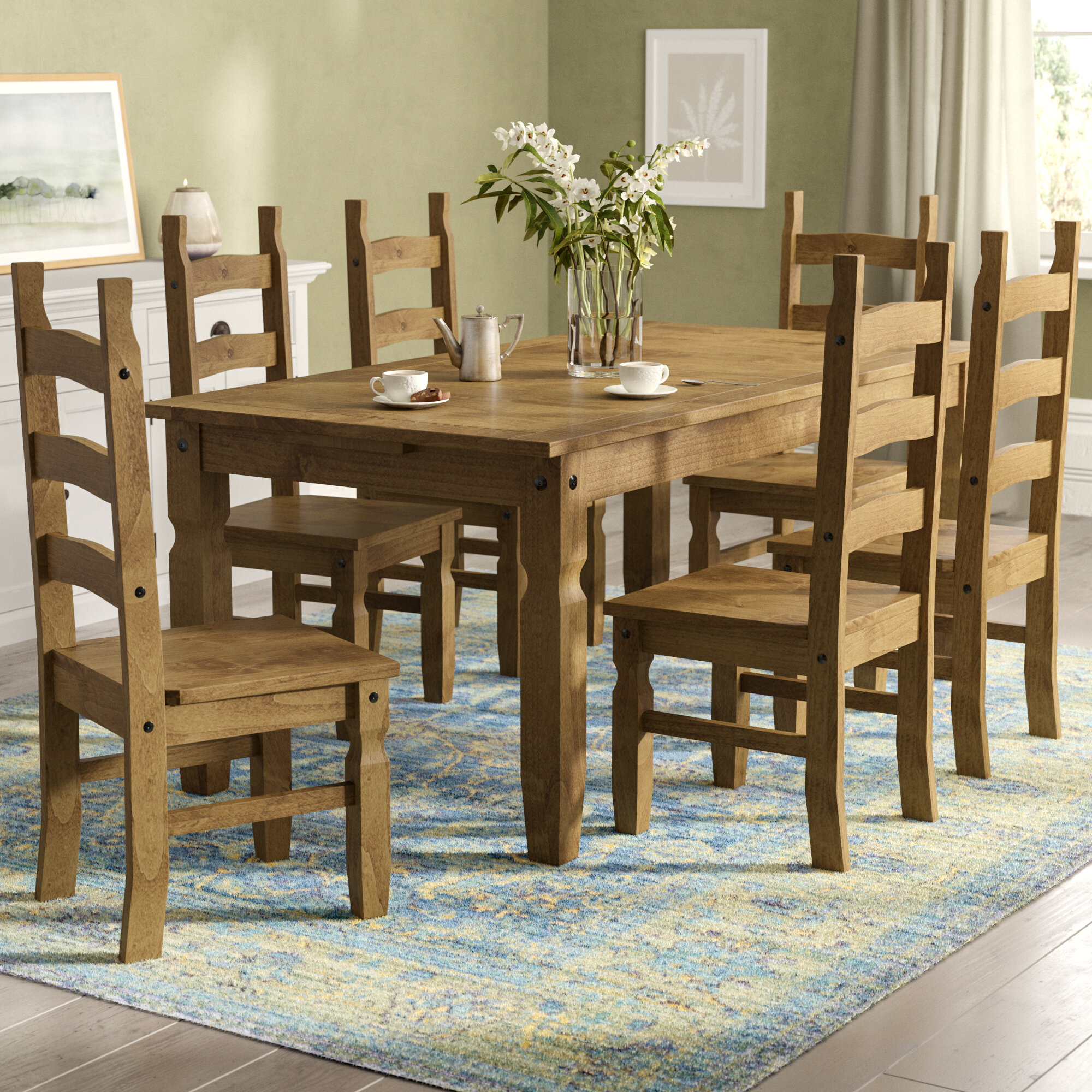 Dodge 9   Person Pine Solid Wood Dining Set