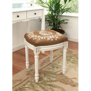 Pineapple Linen Upholstered Vanity Stool with Nailhead by 123 Creations