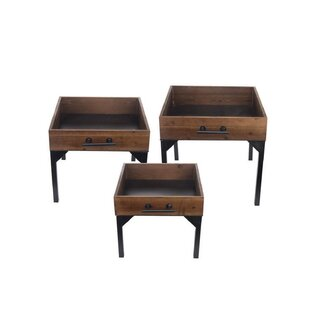 Nielsville Wood Drawer 3 Piece Nesting Tables