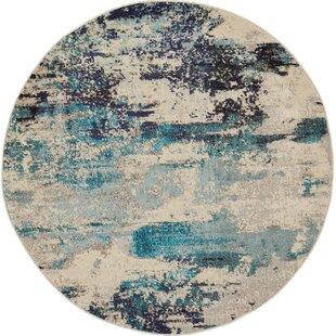 Shugart Ivory/Blue Area Rug by Wrought Studio