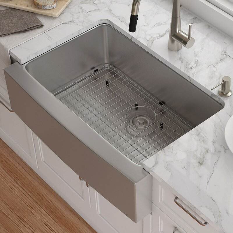 30   x 21   farmhouse kitchen sink with drain assembly kraus 30   x 21   farmhouse kitchen sink with drain assembly      rh   wayfair com