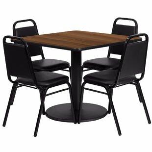 Alvarado Square Laminate 5 Piece Pedestal Dining Set