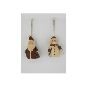 2 Piece Papier Mache Snowman and Santa Set