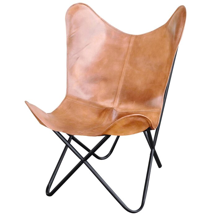 Phenomenal Newburg Natural Leather Butterfly Chair Lamtechconsult Wood Chair Design Ideas Lamtechconsultcom