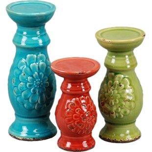 3 Piece Ceramic Candlestick Set