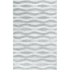 Lada Abstract Waves Gray/White Area Rug