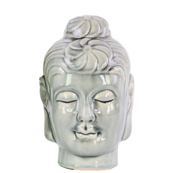 Benzara Pleasing Ceramic Sitting Figurine Red Buddha Statue