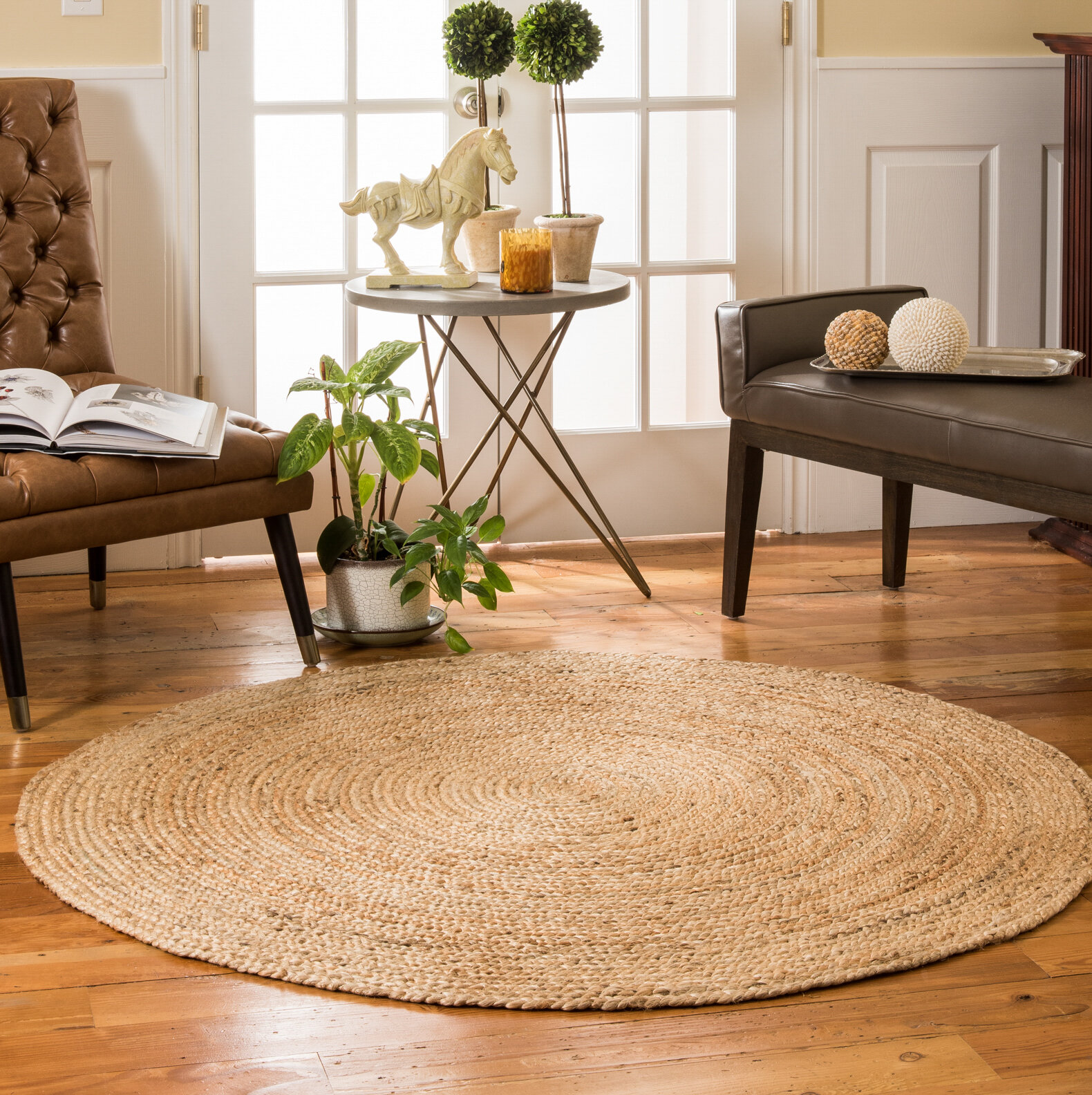Syston Hand Braided Beige Area Rug
