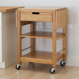 Wenlock Bamboo Kitchen Cart with Drop Leaf by Alcott Hill