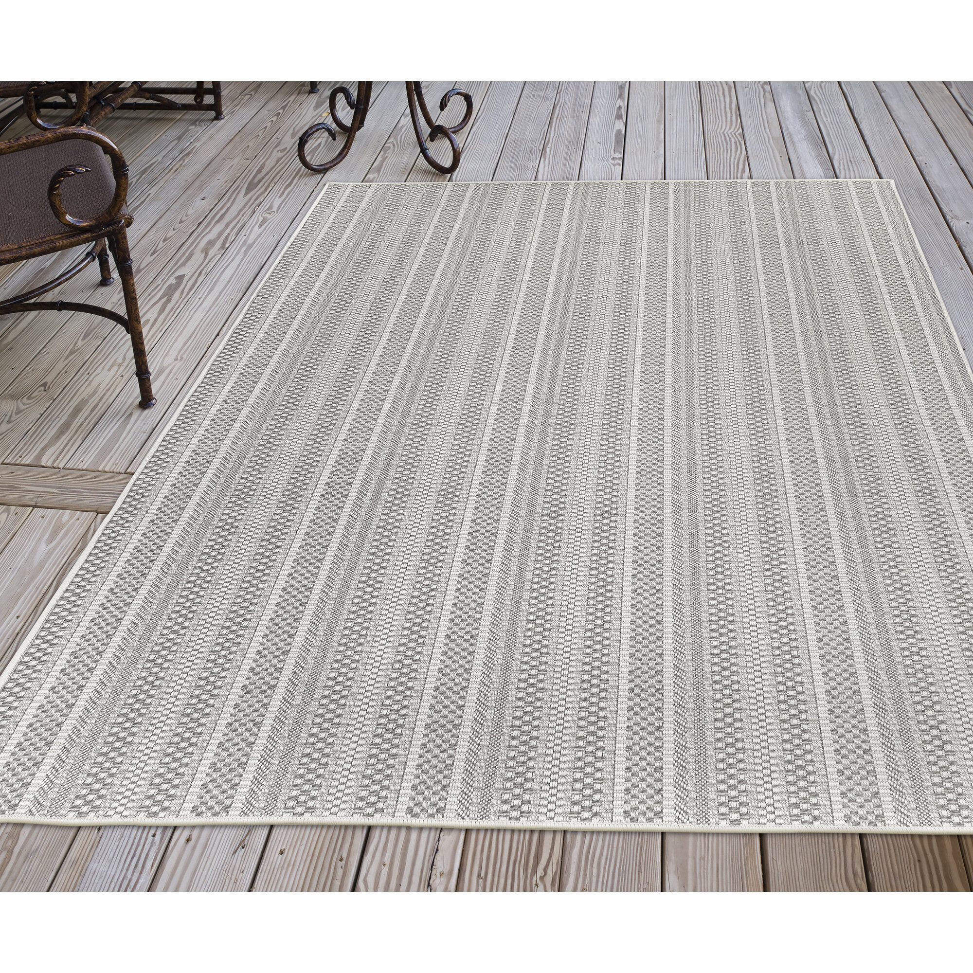 Highland Dunes Abril Striped Silver Indoor Outdoor Area Rug Reviews Wayfair
