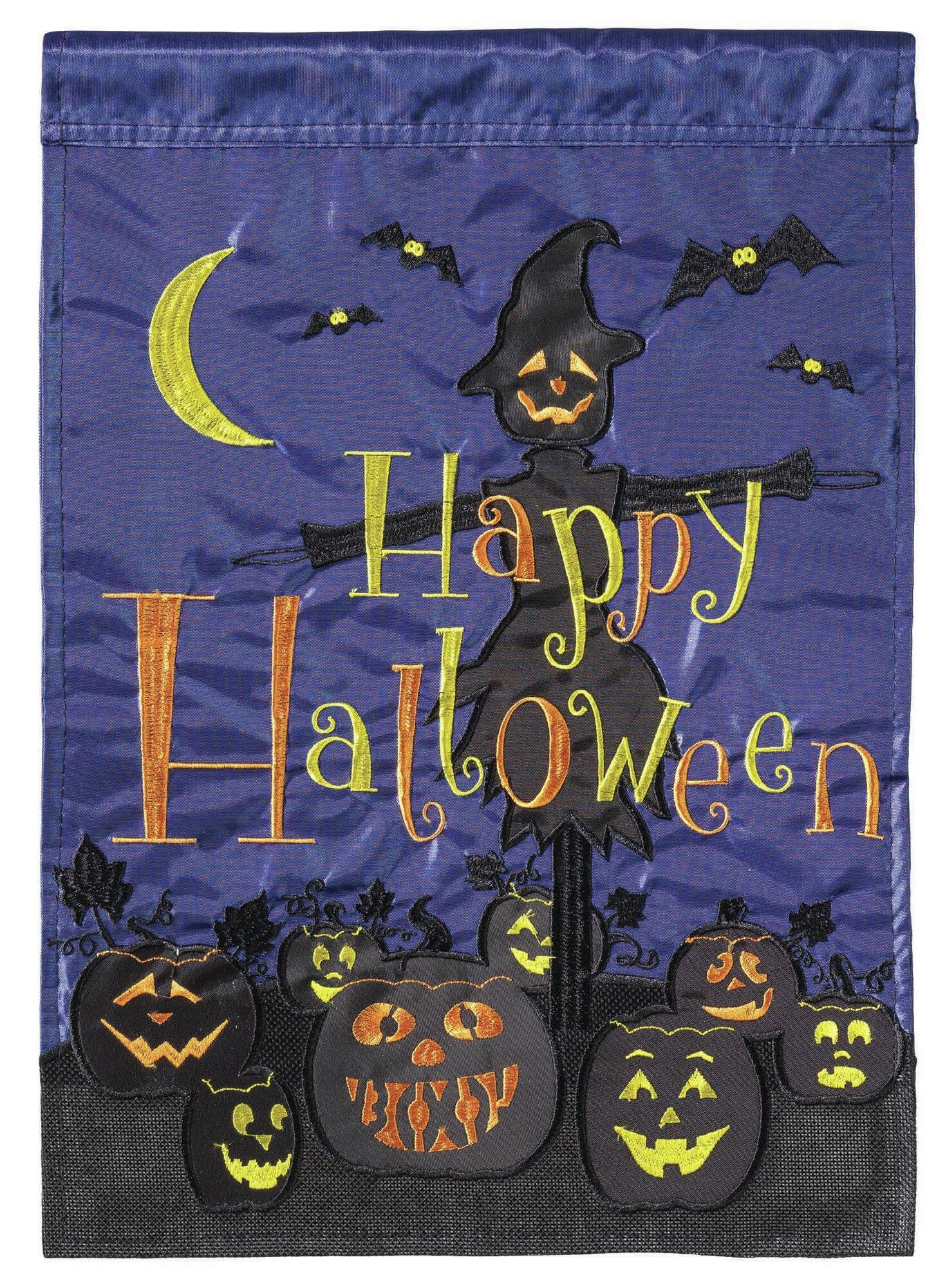Dicksonsinc Applique Happy Halloween 2 Sided Burlap 18 X 13 In Garden Flag Wayfair