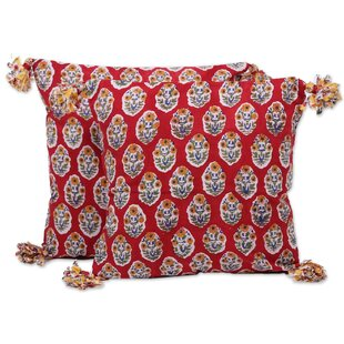 Nuri Floral Oasis Cotton Throw Pillow (Set of 2)